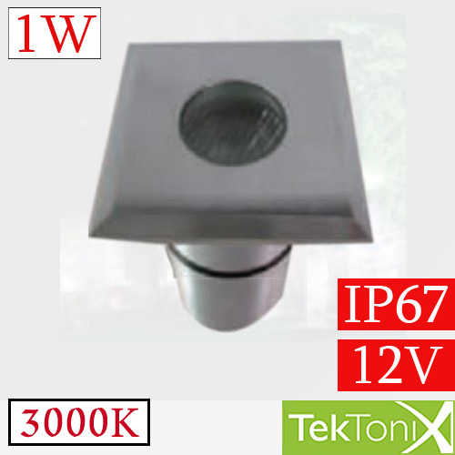 שקוע רצפה מרובע לד TekTonix 1W Ø36mm IP67 3000k